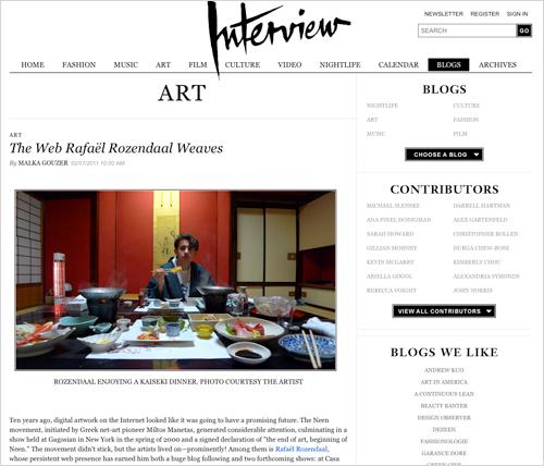 2011 rafael rozendaal interview magazine