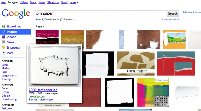 image search torn paper