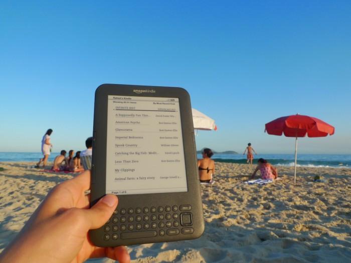 RR kindle on the beach