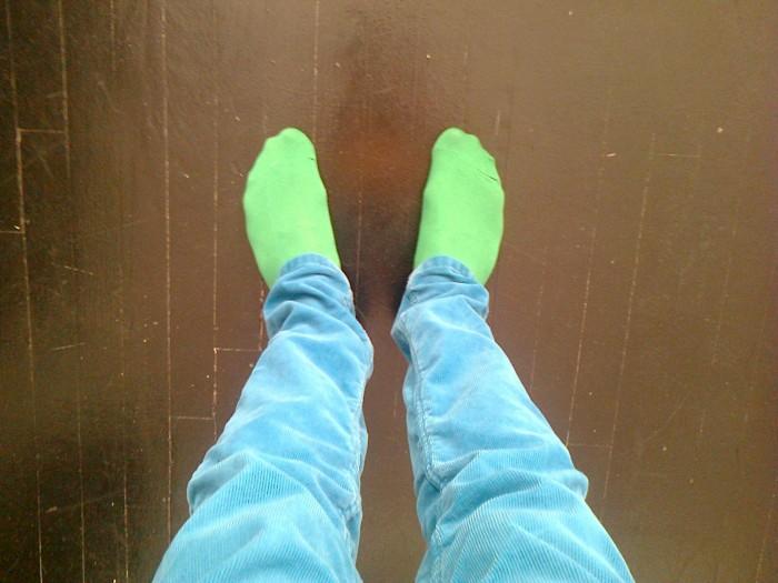 green socks blue pants